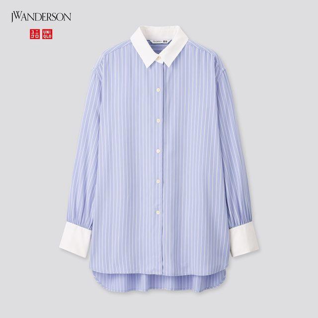 レーヨンストライプロングシャツ(長袖)