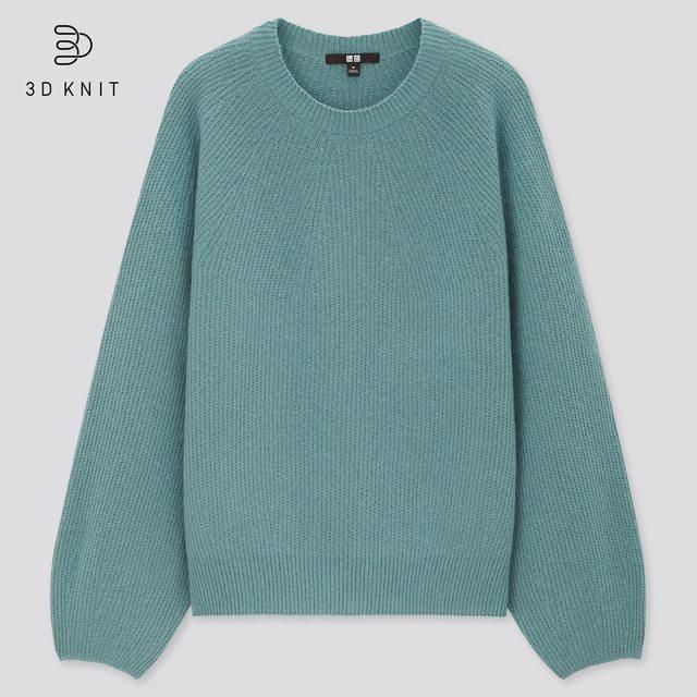 3Dラムブレンドクルーネックセーター(長袖)
