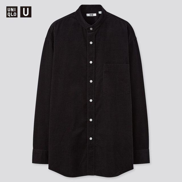 コーデュロイワイドフィットスタンドカラーシャツ
