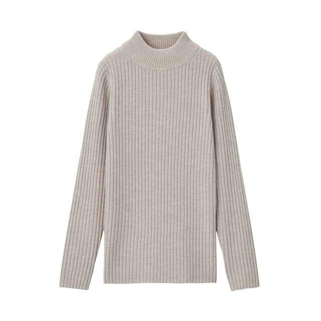首のチクチクをおさえた 洗えるワイドリブ編みハイネックセーター
