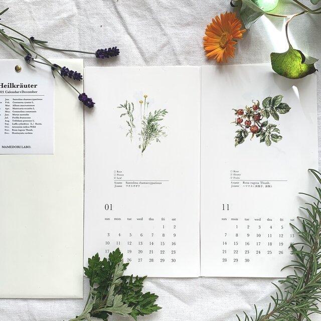 スワッグ付き2021年カレンダー【ハーブ図鑑】