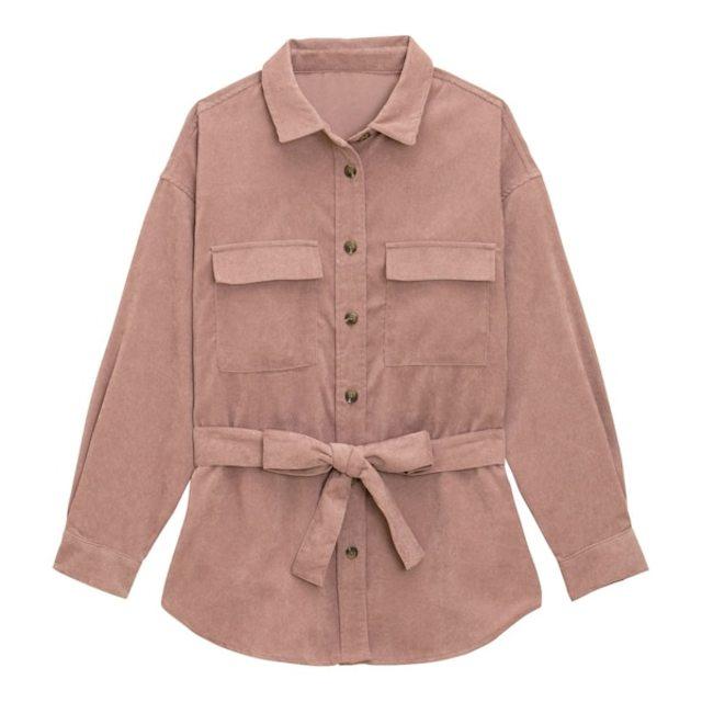 コーデュロイベルテッドオーバーサイズシャツ(長袖)