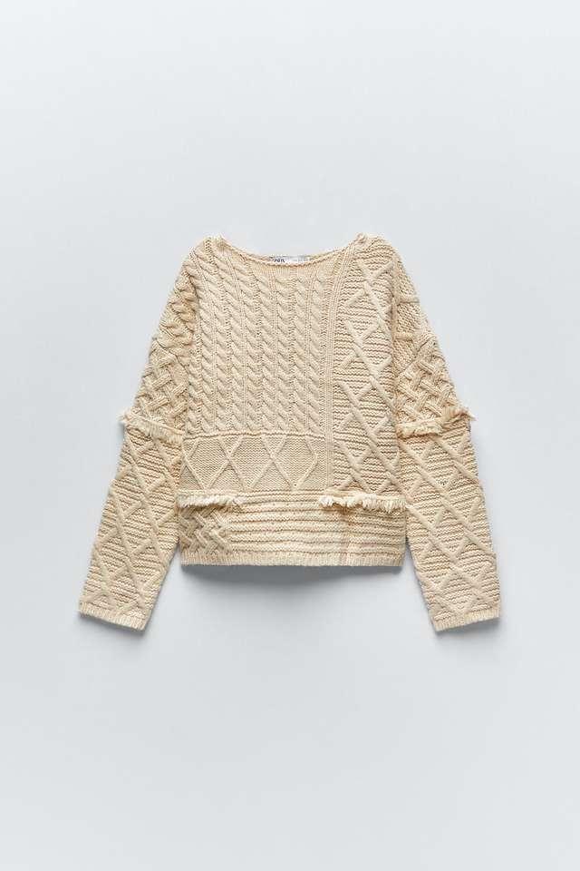 パッチワークデザインニットセーター