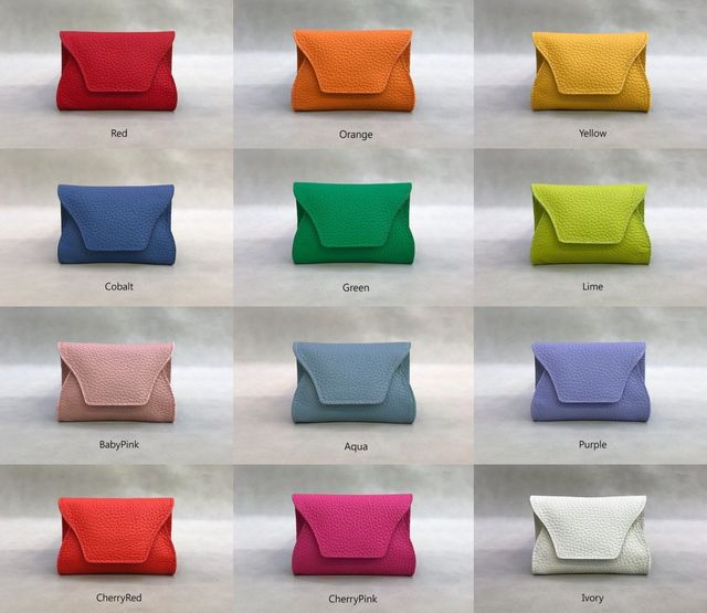 【 22color 】real leather wallet