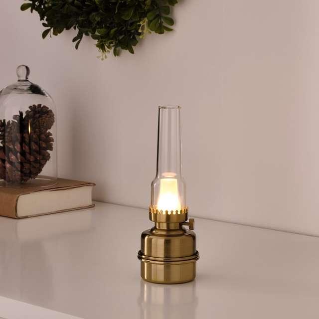 STRÅLA ストローラ LEDテーブルランプ, 電池式/黄銅色