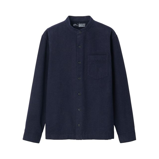 フランネルスタンドカラーシャツ 紳士L