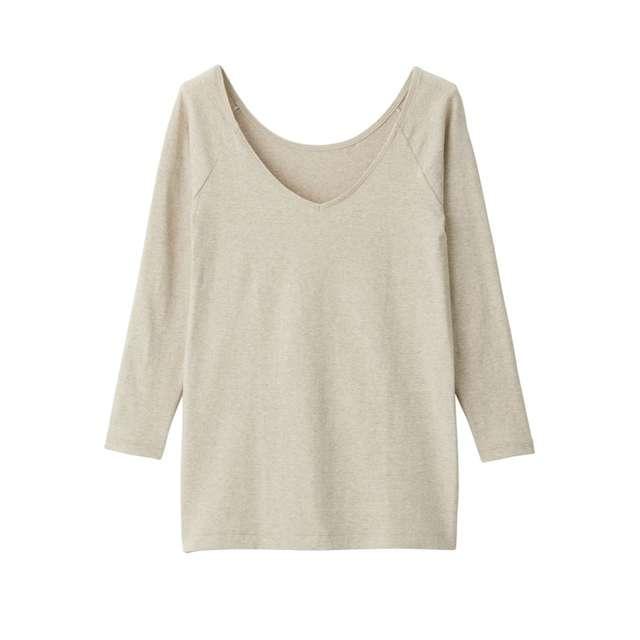 綿であったかVネック八分袖Tシャツ