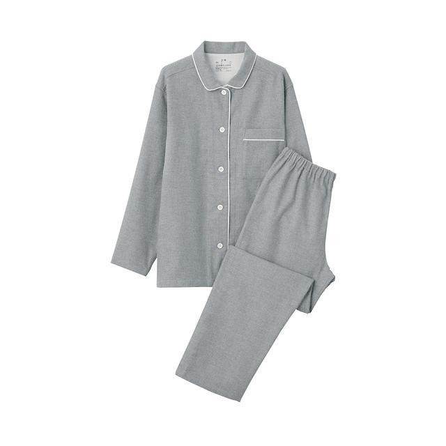 脇に縫い目のない フランネルパジャマ