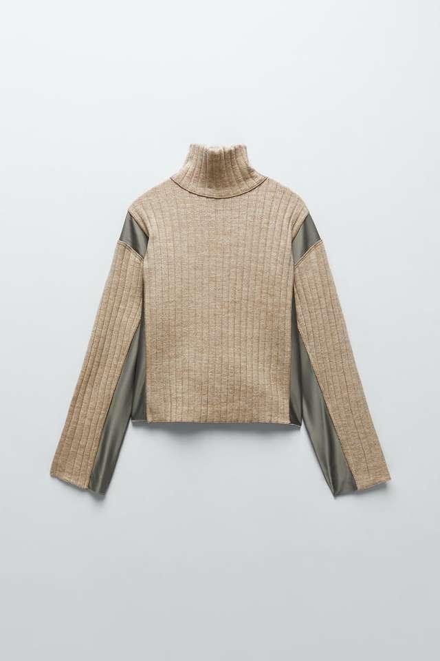 コントラストディテール入りセーター