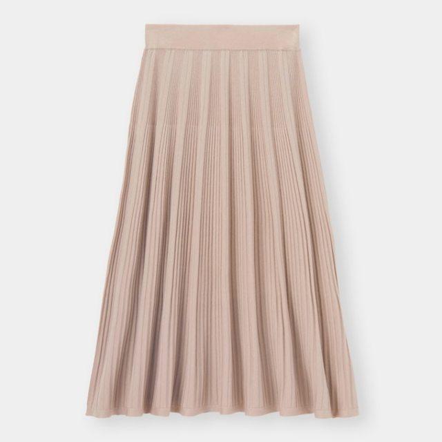 リブニットフレアスカート
