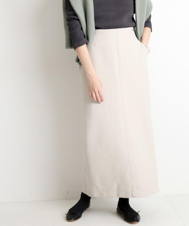 ウール混ツイルロングタイトスカート