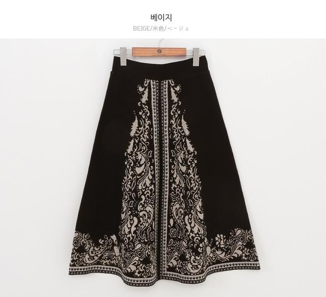 ダマスク柄ニットスカート