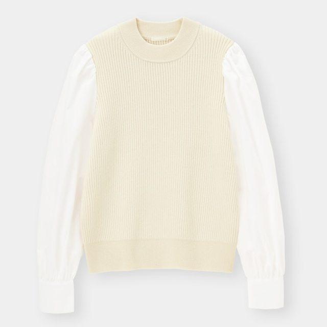 シャツスリーブコンビネーションセーター(長袖)