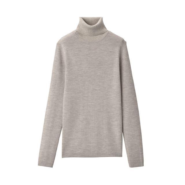 洗えるリブ編みタートルネックセーター