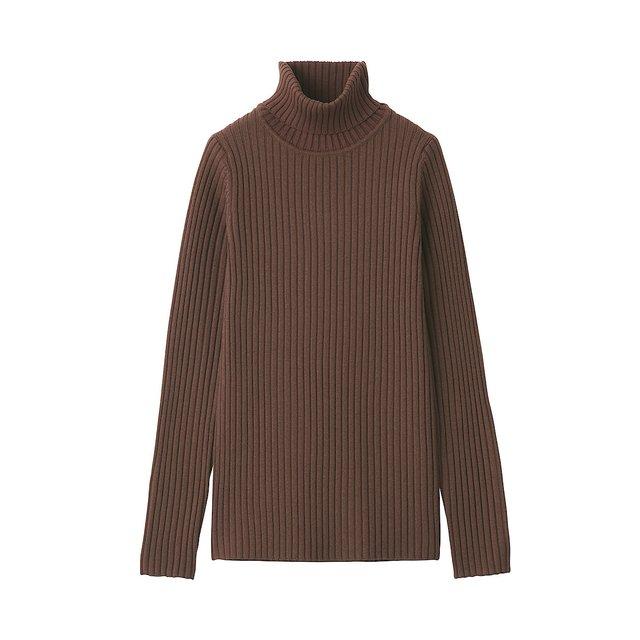 タートルネック洗えるセーター(太リブ)
