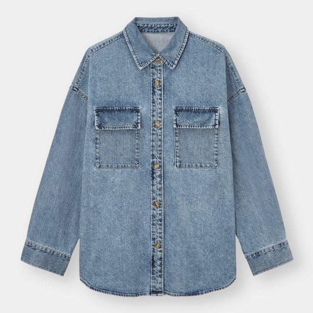 デニムダブルポケットオーバーサイズシャツ