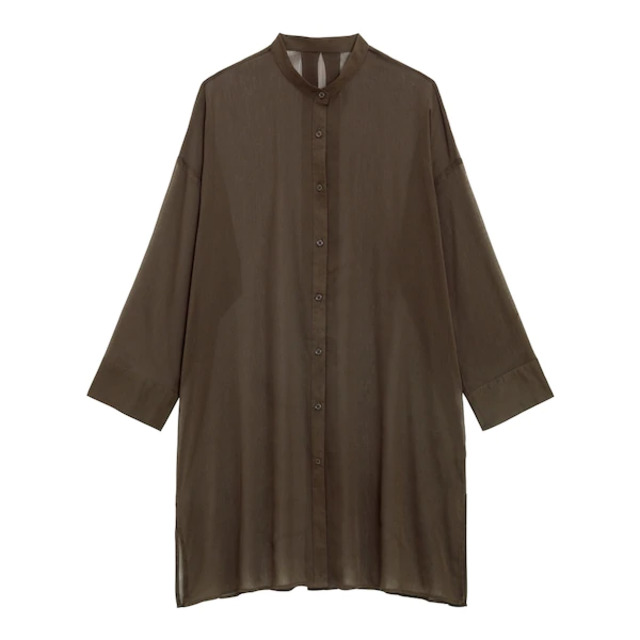 シアーバンドカラーロングシャツ
