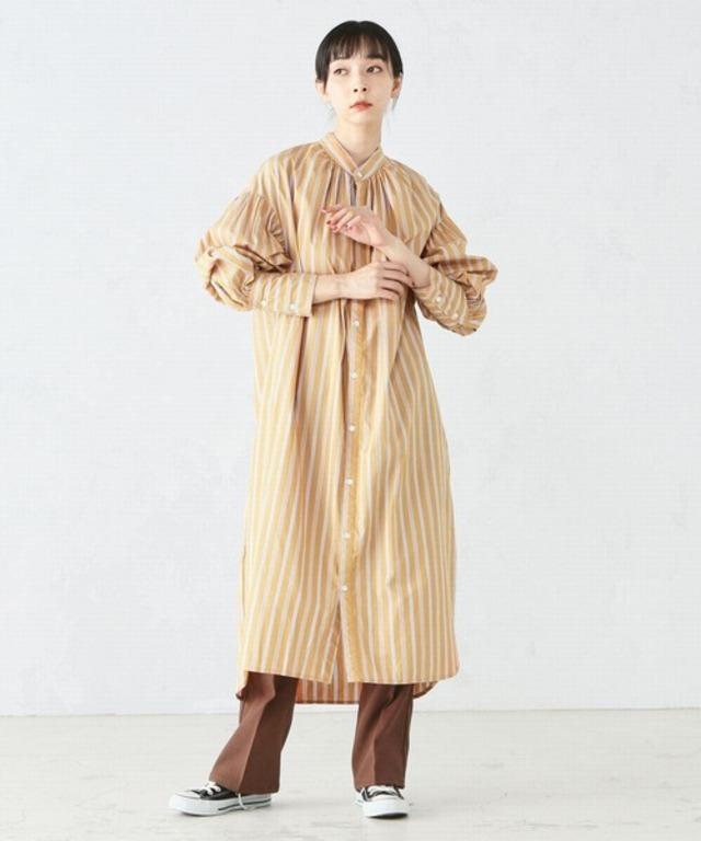 袖ボリューム ロングシャツ ワンピース