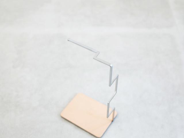 メガネハンガー Geometry ステンレスヘアラインヌメ革
