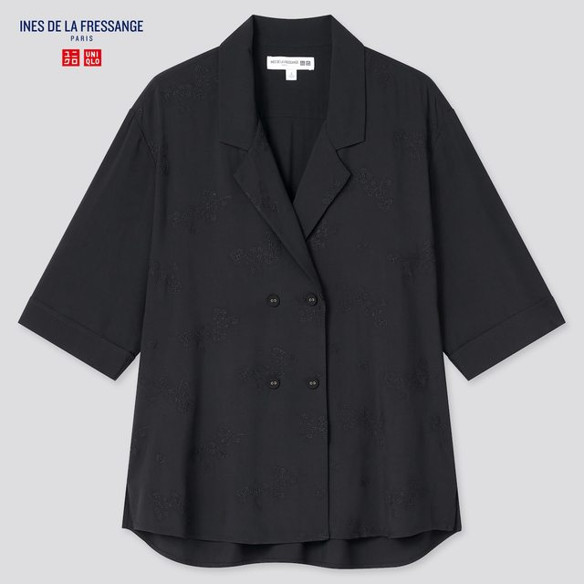 レーヨンオープンカラーブラウス(5分袖)