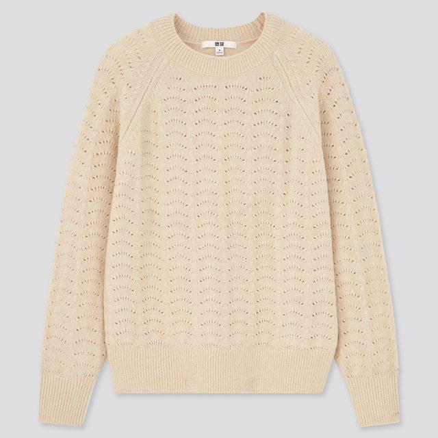 ライトスフレヤーンポインテールクルーネックセーター