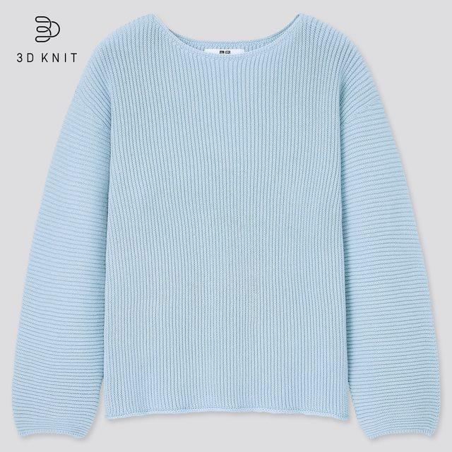 3Dコットンリブボートネックセーター