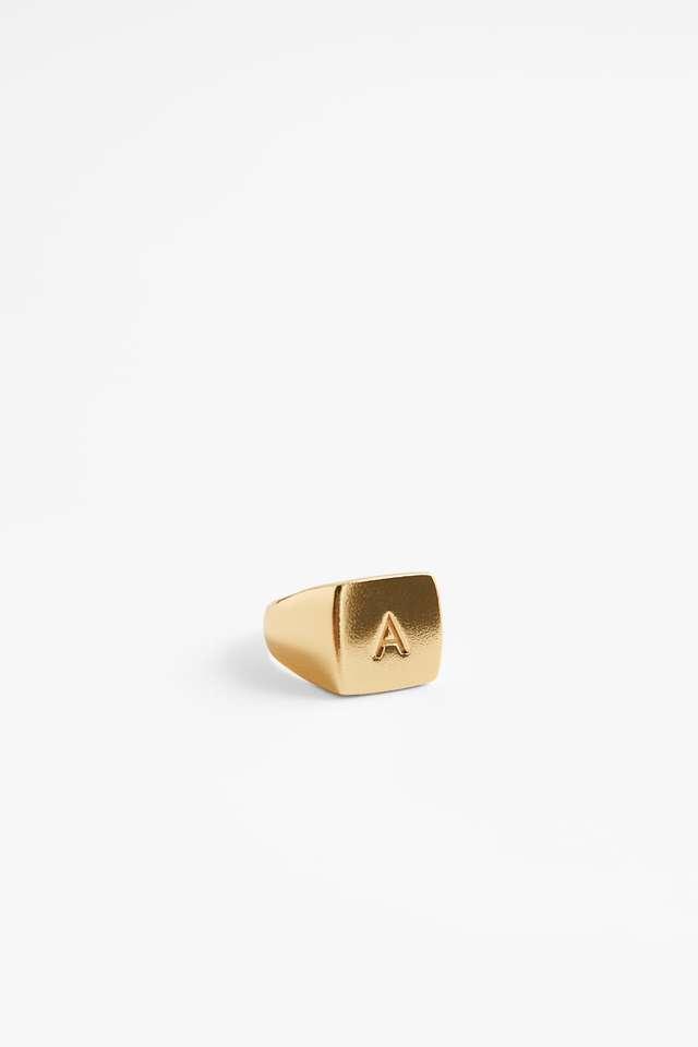 ゴールドプレーテッド スターリングシルバーシグネットリング - サイズ S