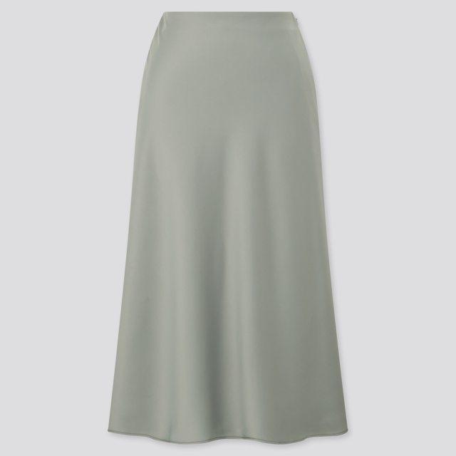サテンナローフレアスカート