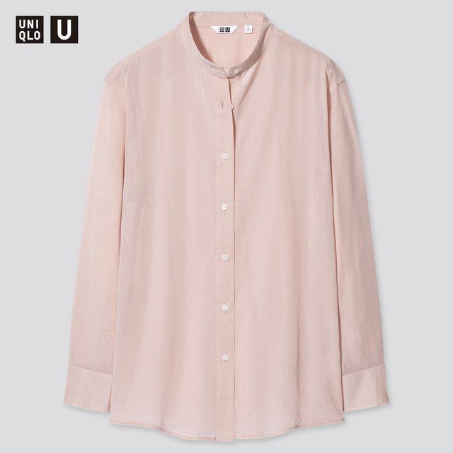 シアーバンドカラーシャツ(長袖)