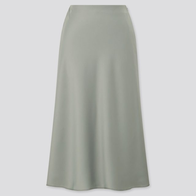 サテンナローフレアスカート(丈標準72~76cm)