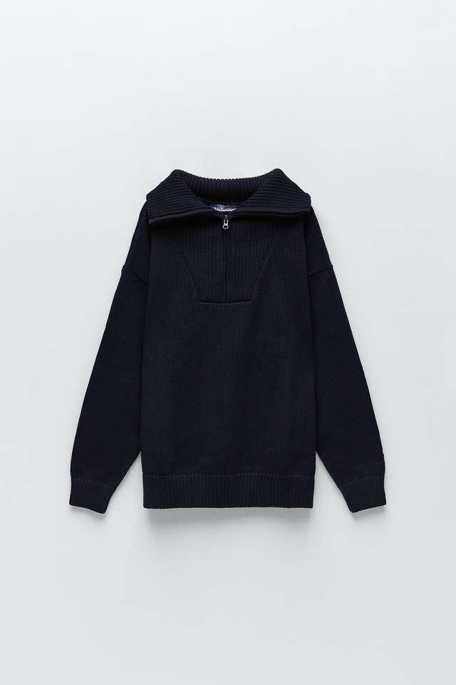 ジッパー付きニットセーター