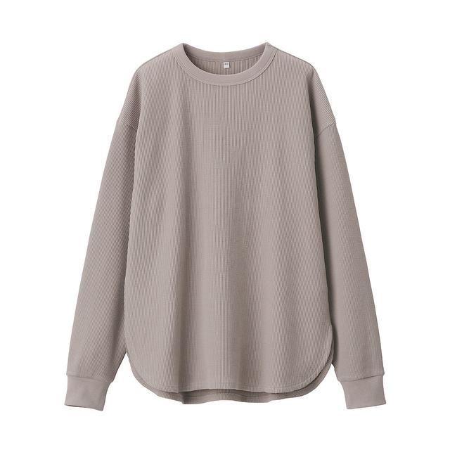 インド綿混ワッフル編み長袖Tシャツ