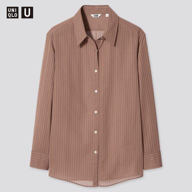 シアーストライプシャツ(長袖)