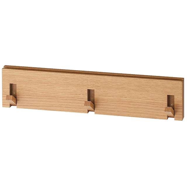 壁に付けられる家具・3連ハンガー・オーク材 幅44×奥行2.5×高さ10cm