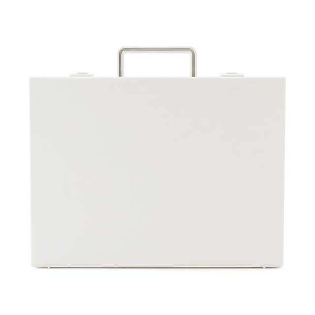 自立収納できるキャリーケース・A4用・ホワイトグレー 約縦28(持ち手含)×横32×厚さ7cm