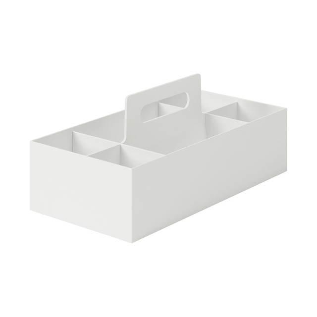 ポリプロピレン収納キャリーボックス・ワイド・ホワイトグレー 約幅15×奥行32×高さ8cm