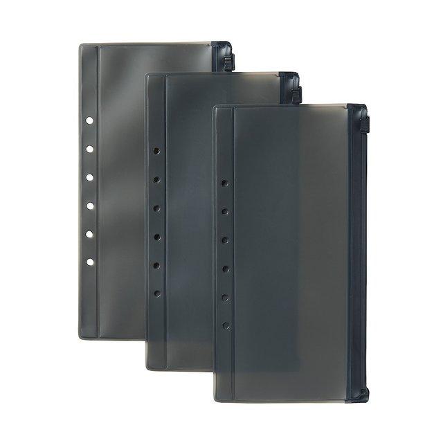 パスポートケース用リフィル クリアポケット 黒/3枚