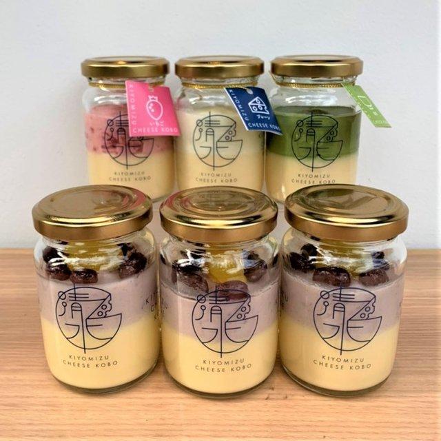 清水チーズ工房 ボトルチーズケーキ 丹波大納言セット(丹波大納言3個+プレーン、いちご、抹茶各1個)