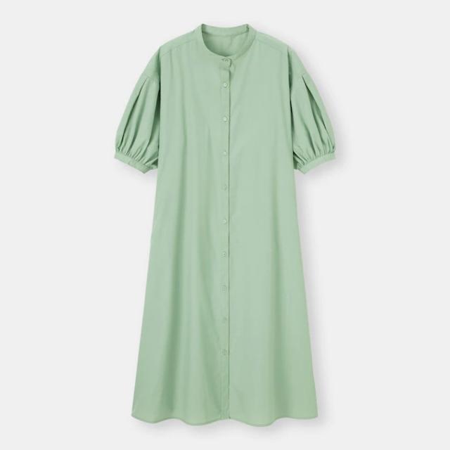 バンドカラーシャツワンピース(5分袖)