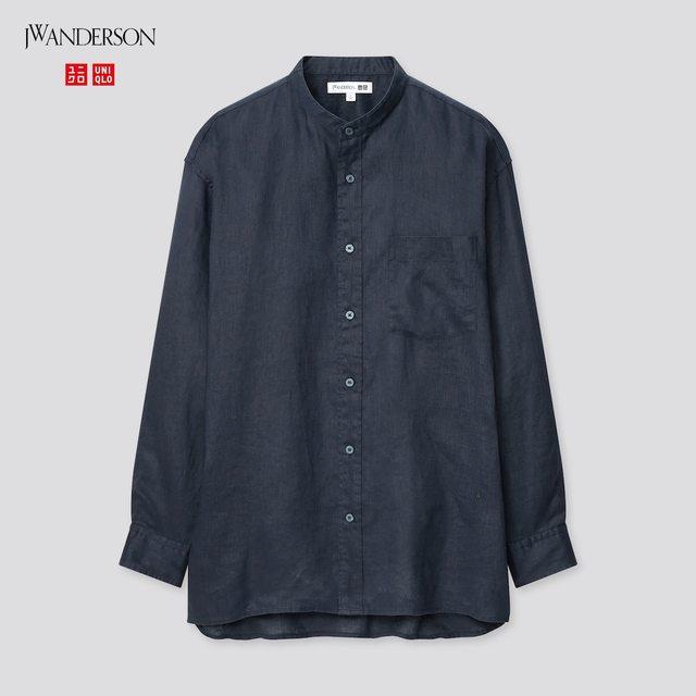 プレミアムリネンオーバーサイズスタンドカラーシャツ(長袖)