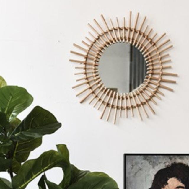 wood sunny wall mirror