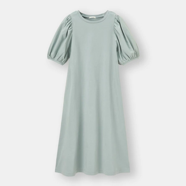 布帛コンビネーションボリュームスリーブワンピース(5分袖)