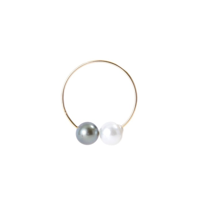 Oversized Ear Hoop with Tahitian Pearl & South Sea White Pearl