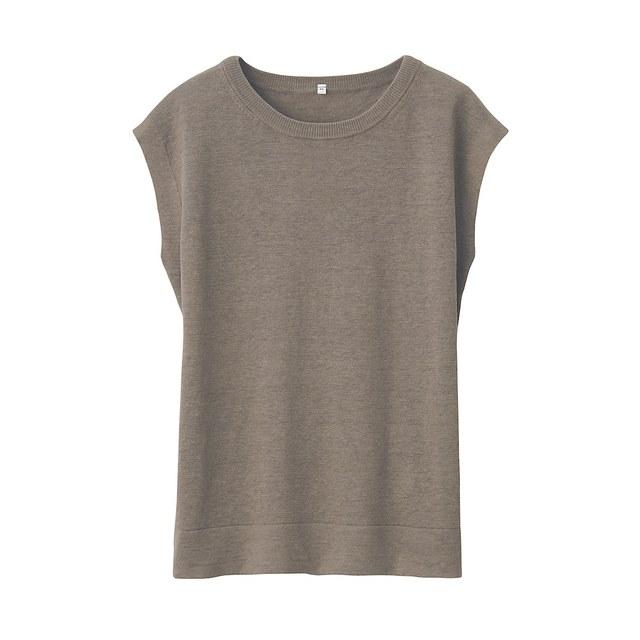 UVカットフレンチリネンスリーブレスセーター