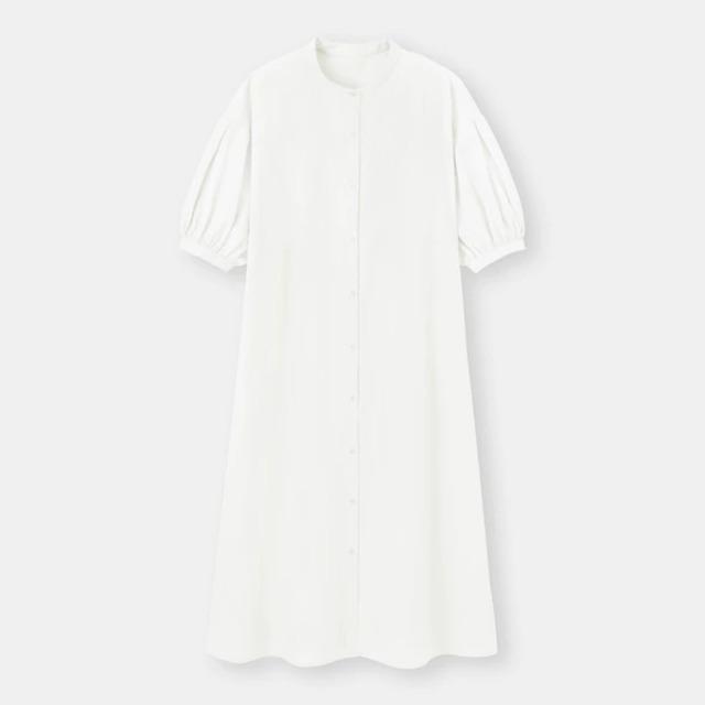 バンドカラーシャツワンピース(5分袖)Q