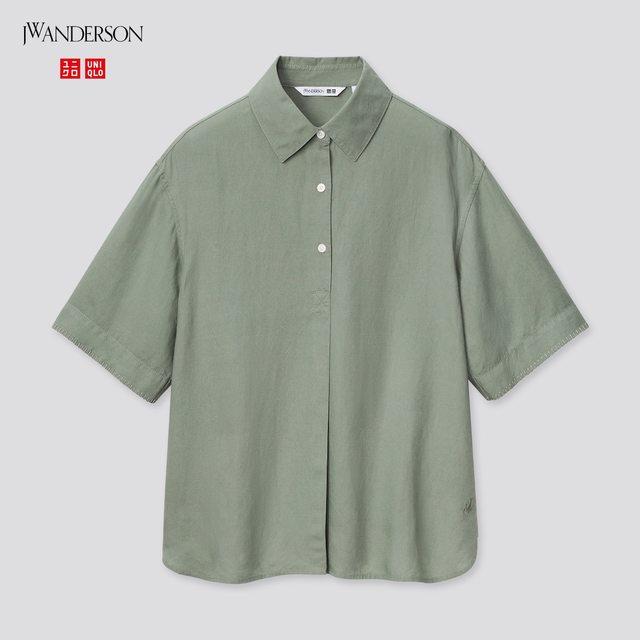 リネンブレンドプルオーバーシャツ(半袖)