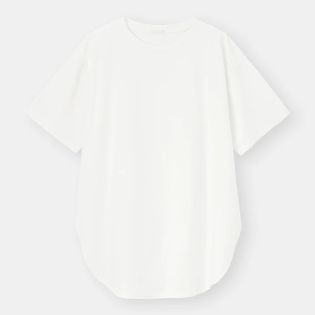 マーセライズドラウンドヘムチュニックT(5分袖)