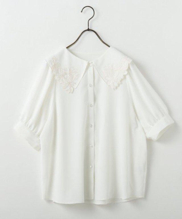 刺繍衿袖ボリュームブラウス