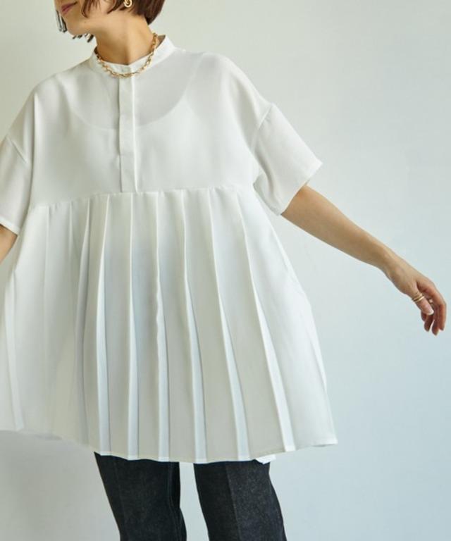 バンドカラー裾プリーツ半袖シャツ