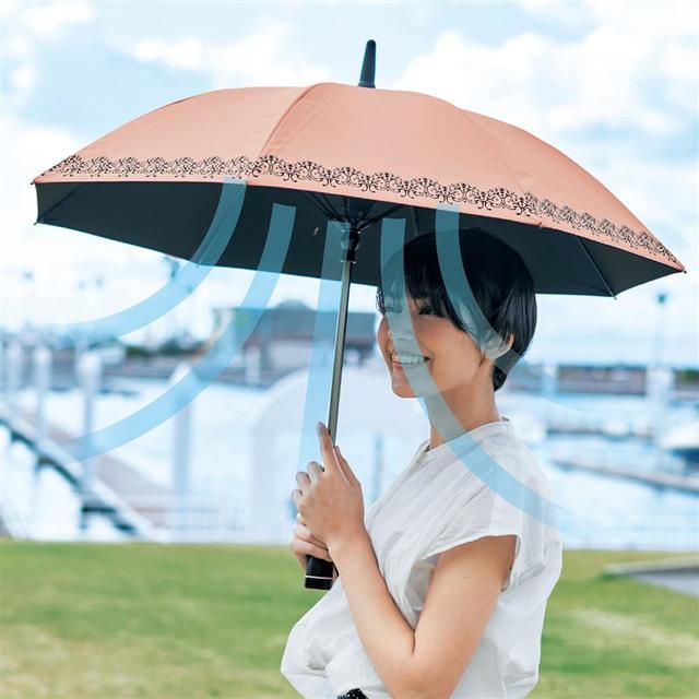 扇風機付き日傘 ピンク